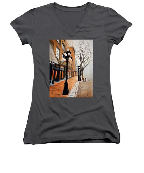 Gastown, Vancouver Women's V-Neck (Athletic Fit)