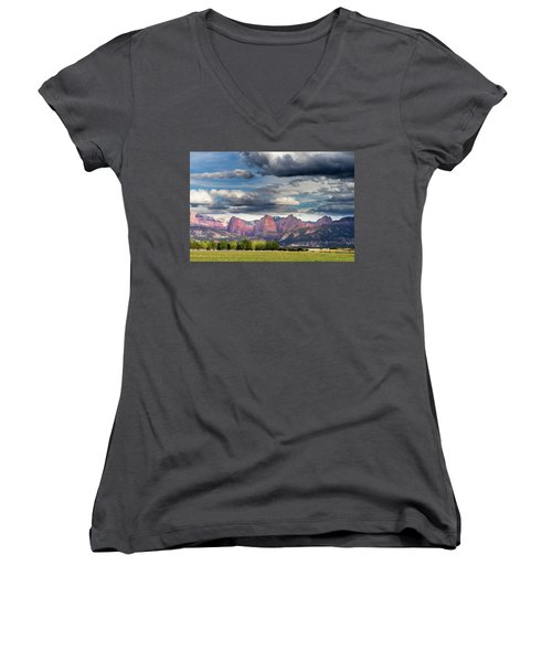 Gathering Storm Over The Fingers Of Kolob Women's V-Neck T-Shirt