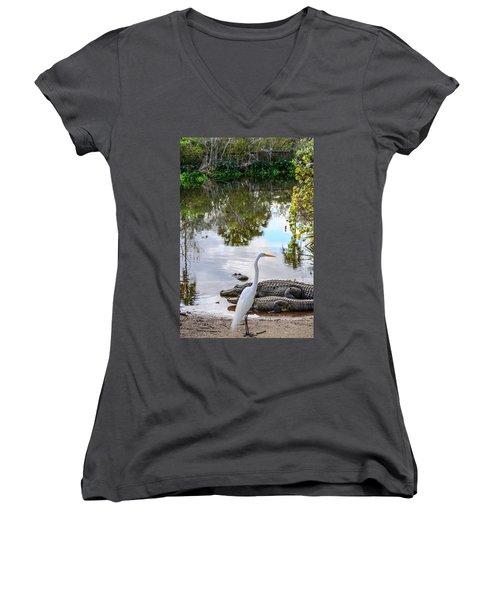 Gator Fam Women's V-Neck T-Shirt (Junior Cut) by Josy Cue