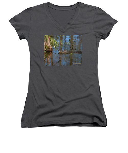 Gator In Cypress Lake 3 Women's V-Neck T-Shirt