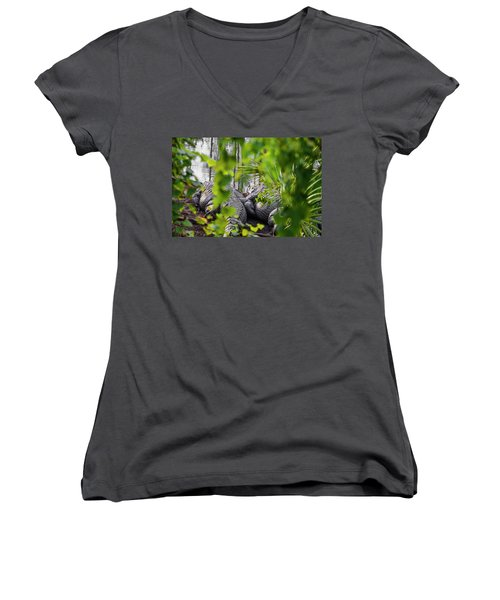 Gator Love Women's V-Neck T-Shirt (Junior Cut) by Josy Cue