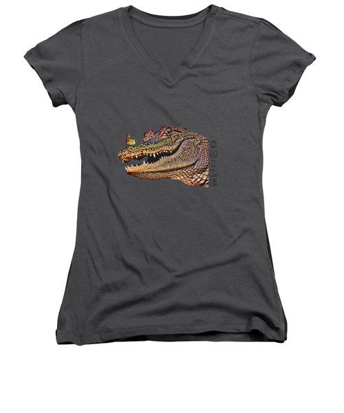 Gator Smile Women's V-Neck T-Shirt (Junior Cut)