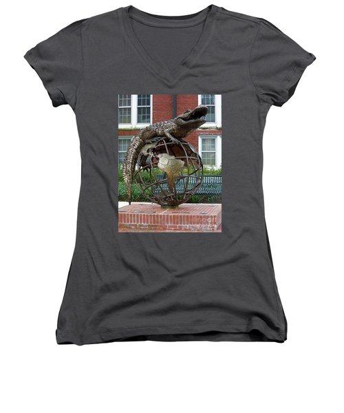 Gator Ubiquity Women's V-Neck T-Shirt (Junior Cut) by D Hackett