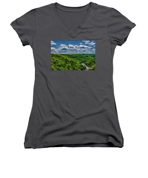 Gauley River Canyon And Clouds Women's V-Neck