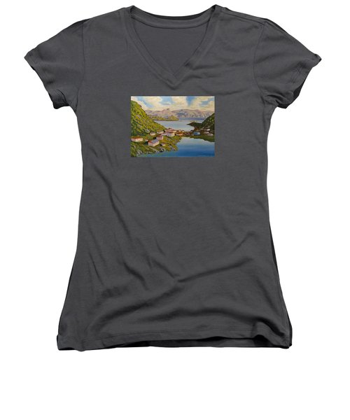 Gaultois Village Newfoundland Women's V-Neck T-Shirt
