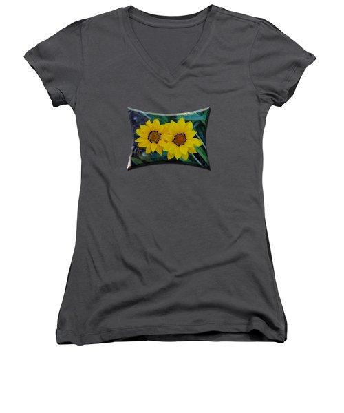 Gazania Rigens - Treasure Flower T-shirt Women's V-Neck T-Shirt (Junior Cut) by Isam Awad
