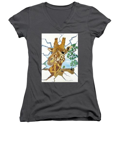 Gazing Giraffe Women's V-Neck