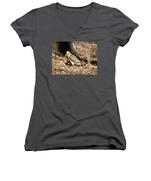 Gecko For Lunch Women's V-Neck T-Shirt (Junior Cut) by George Randy Bass