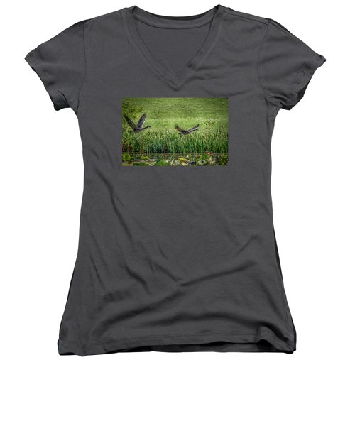 Geese In Flight Women's V-Neck T-Shirt (Junior Cut) by Ray Congrove