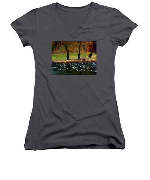 Geese Weeping Willows Women's V-Neck