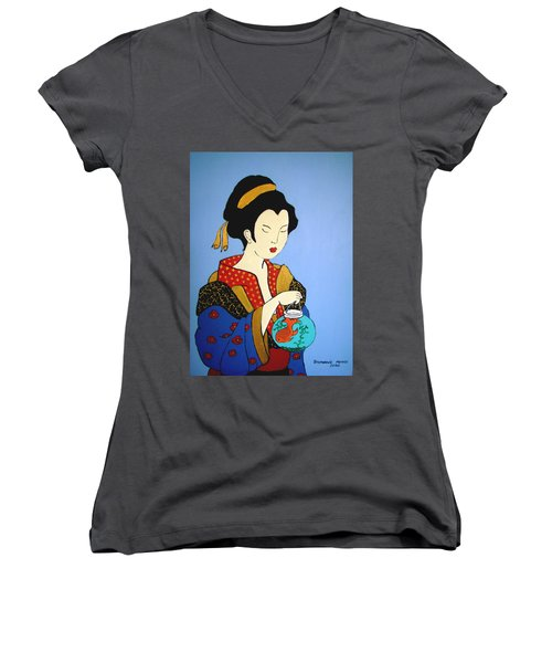 Women's V-Neck T-Shirt (Junior Cut) featuring the painting Geisha With Fish by Stephanie Moore