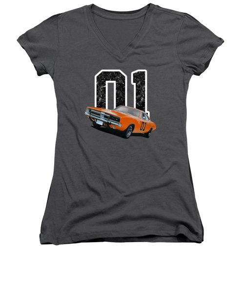 General Lee Charger Women's V-Neck (Athletic Fit)