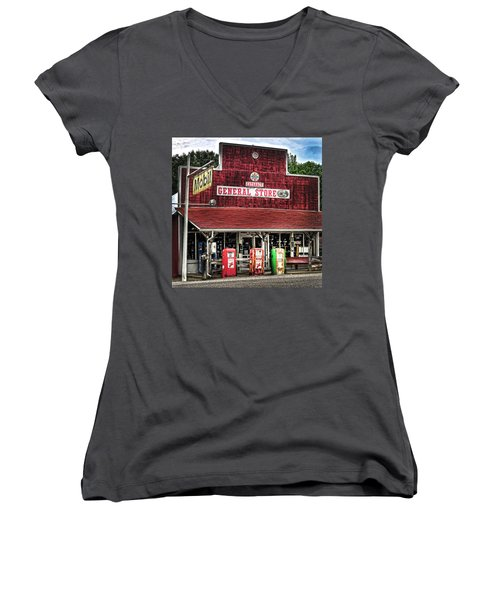 General Store Cataract In. Women's V-Neck T-Shirt (Junior Cut) by Randall Branham
