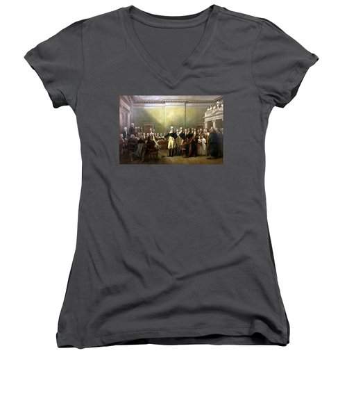 General Washington Resigning His Commission Women's V-Neck T-Shirt (Junior Cut) by War Is Hell Store