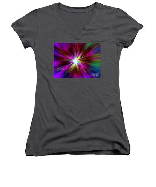 Genesis 1 Verse 3 Women's V-Neck T-Shirt (Junior Cut) by Greg Moores