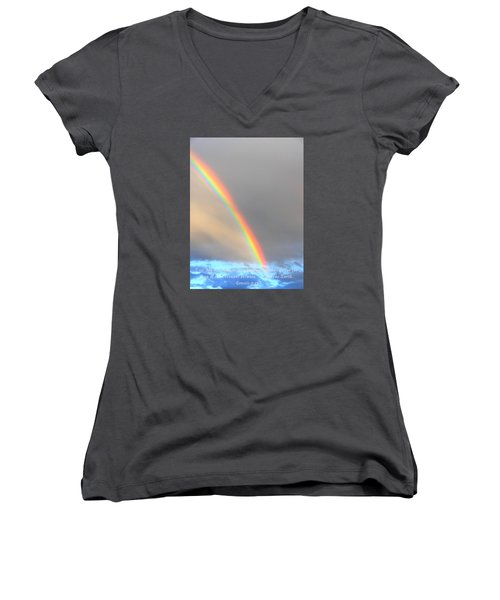 Genesis Rainbow Women's V-Neck T-Shirt (Junior Cut) by Lanita Williams