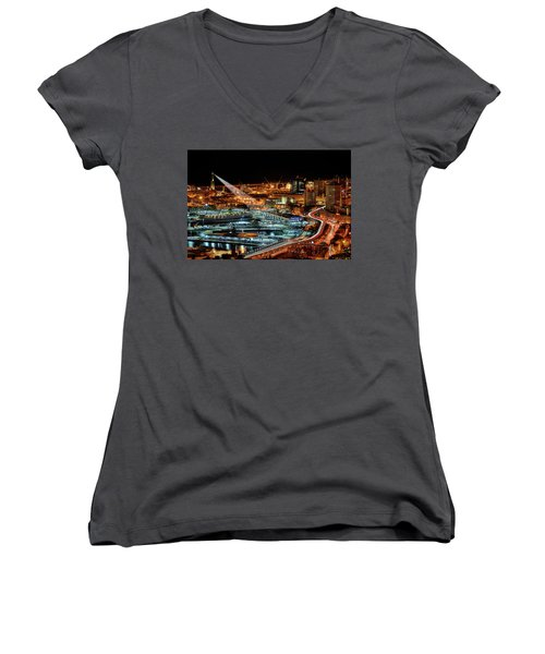 Genoa And The Lighthouse By Night - Genova E La Sua Lanterna  Women's V-Neck