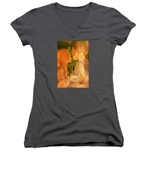 Women's V-Neck T-Shirt (Junior Cut) featuring the digital art Gentle Sweet Kiss by Andrea Barbieri