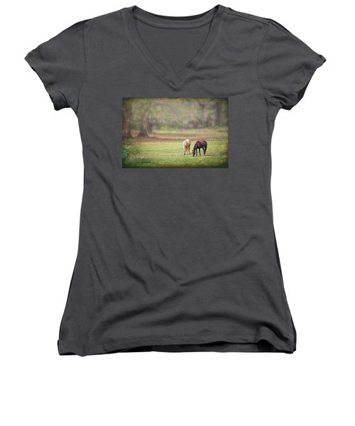 Women's V-Neck T-Shirt featuring the photograph Gently Grazing by Lewis Mann