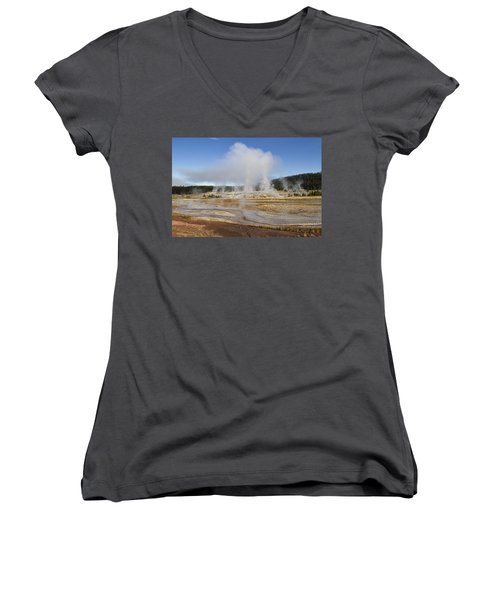 Gently Steaming Women's V-Neck T-Shirt (Junior Cut) by Shirley Mitchell