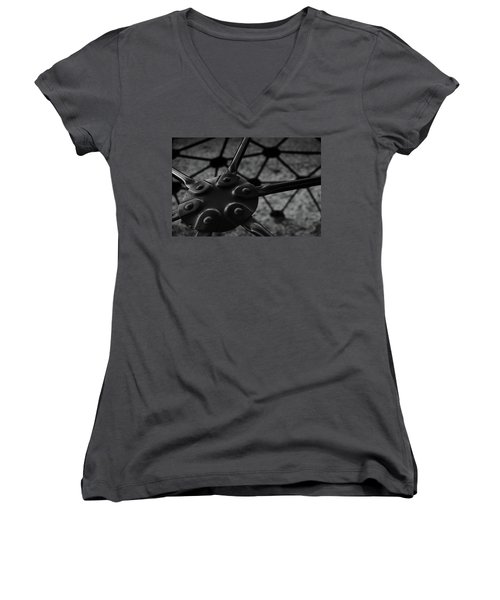 Women's V-Neck T-Shirt (Junior Cut) featuring the photograph Geodome Climber 2 by Richard Rizzo