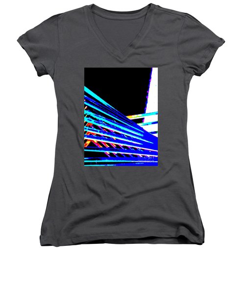 Geometric Waves Women's V-Neck T-Shirt (Junior Cut) by Tim Townsend