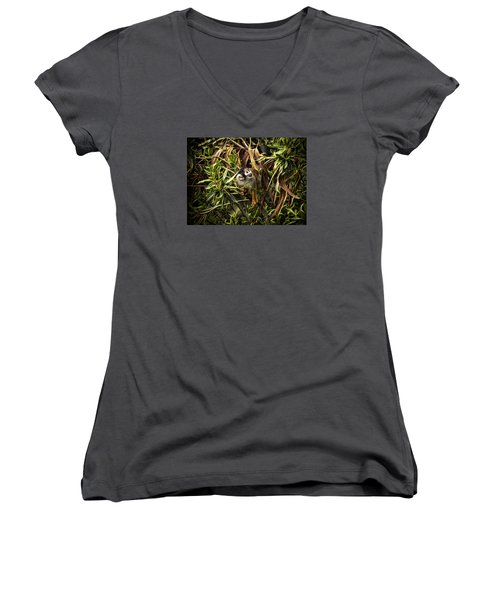 Women's V-Neck T-Shirt (Junior Cut) featuring the photograph George by Cameron Wood