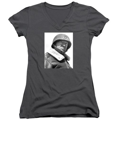 George S. Patton Unknown Date Women's V-Neck T-Shirt (Junior Cut) by David Lee Guss