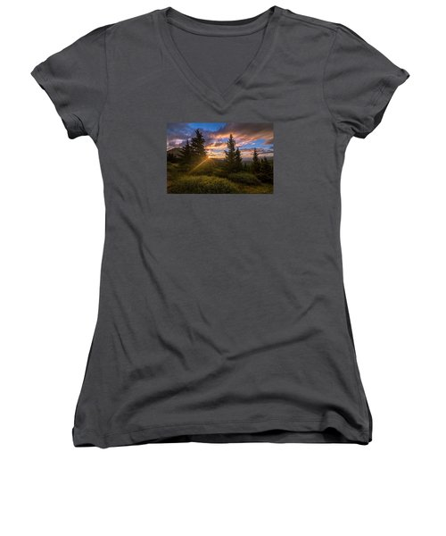 Georgia Pass Sun Rays Women's V-Neck T-Shirt (Junior Cut) by Michael J Bauer