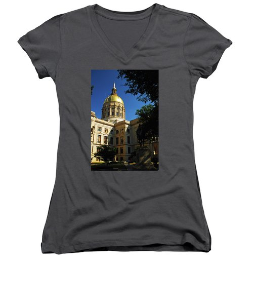 Georgia State Capitol Women's V-Neck T-Shirt (Junior Cut) by James Kirkikis