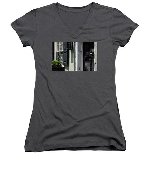 Georgian Gem Women's V-Neck T-Shirt (Junior Cut) by Ed Waldrop