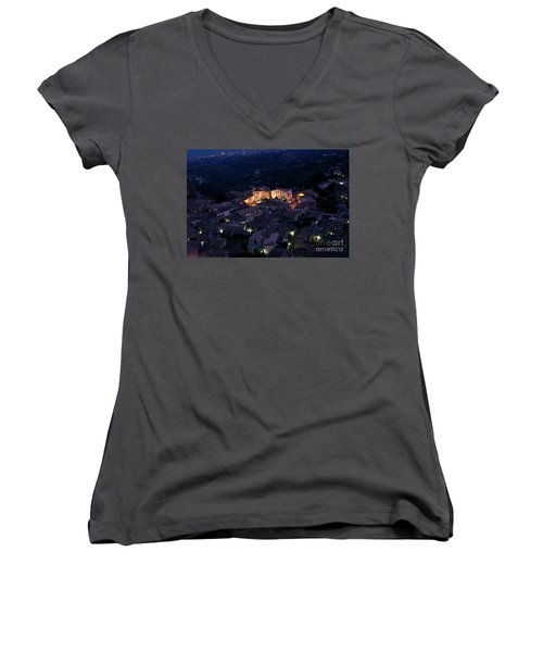 Women's V-Neck T-Shirt (Junior Cut) featuring the photograph Gerace by Bruno Spagnolo