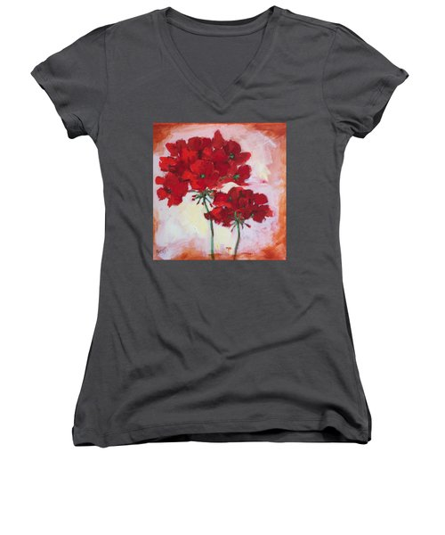 Geranium Women's V-Neck (Athletic Fit)