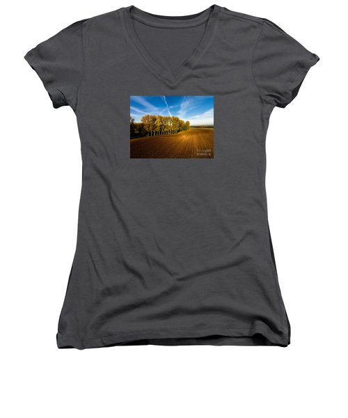 Fields From Above Women's V-Neck (Athletic Fit)