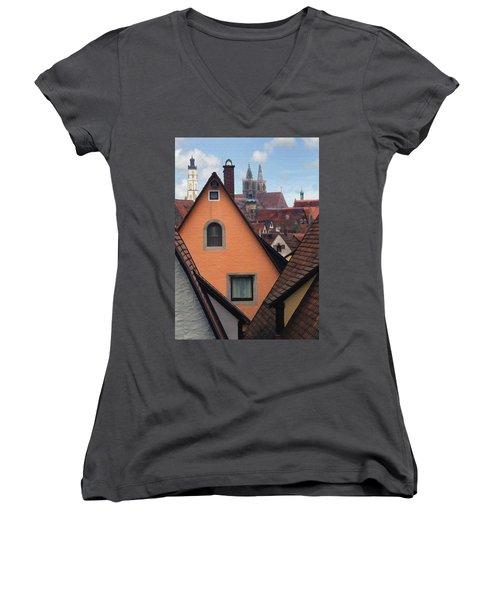 German Rooftops Women's V-Neck T-Shirt