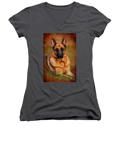 German Shepherd Dog Portrait  Women's V-Neck (Athletic Fit)