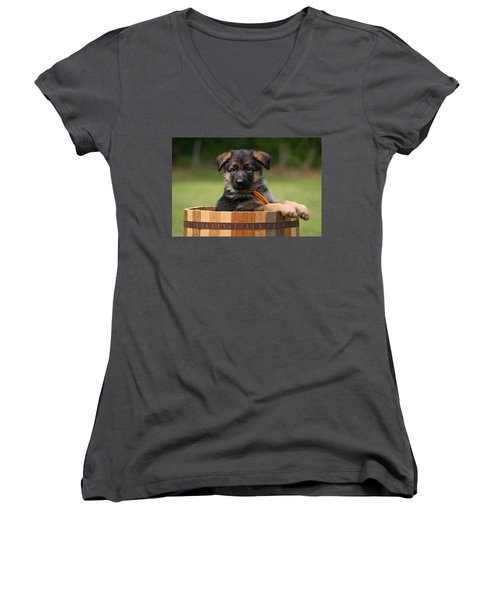 German Shepherd Puppy In Planter Women's V-Neck