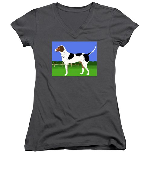 German Shorthaired Pointer In A Field Women's V-Neck T-Shirt (Junior Cut) by Marian Cates