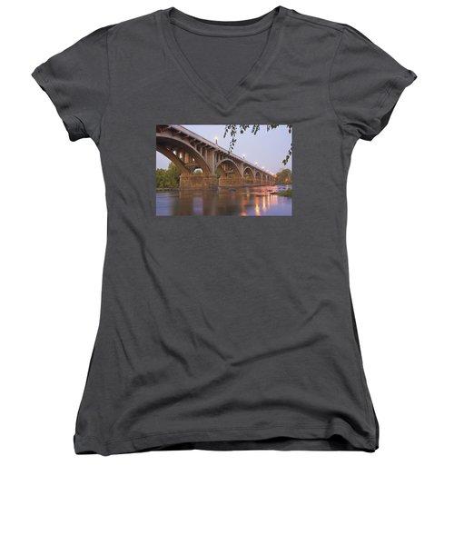Gervais Bridge Women's V-Neck T-Shirt (Junior Cut) by Steven Richardson