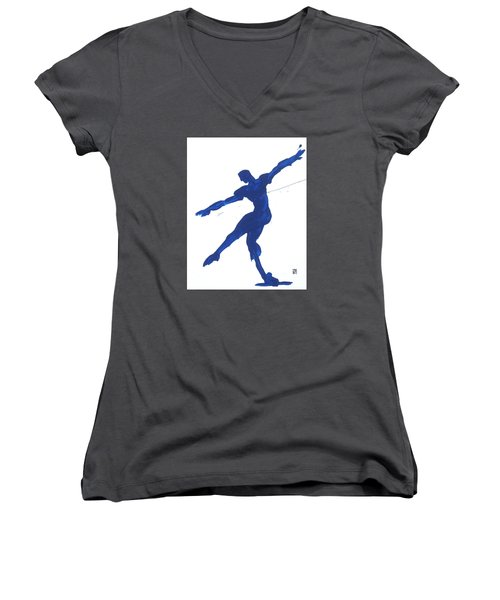 Gesture Brush Blue 2 Women's V-Neck T-Shirt (Junior Cut) by Shungaboy X