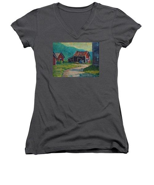 Getting Ready For Winter Women's V-Neck T-Shirt (Junior Cut) by Len Stomski