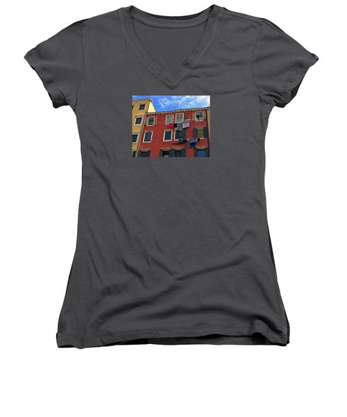 Women's V-Neck T-Shirt (Junior Cut) featuring the photograph Getting To Know You by Lynda Lehmann