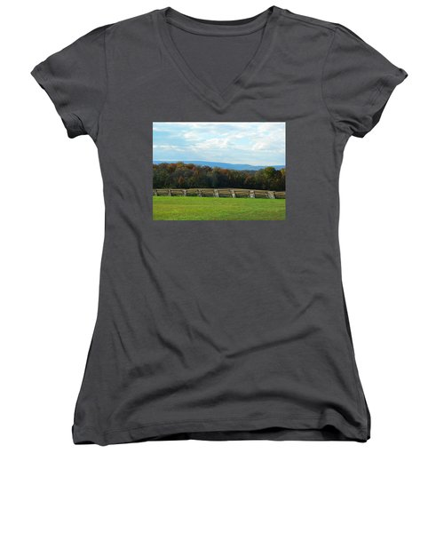Women's V-Neck T-Shirt (Junior Cut) featuring the photograph Gettysburg Battlefield And Beyond by Emmy Marie Vickers