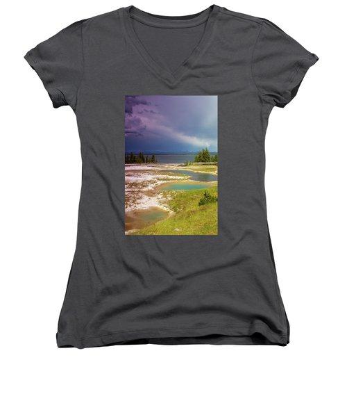Geysers Pools Women's V-Neck T-Shirt (Junior Cut) by Dawn Romine