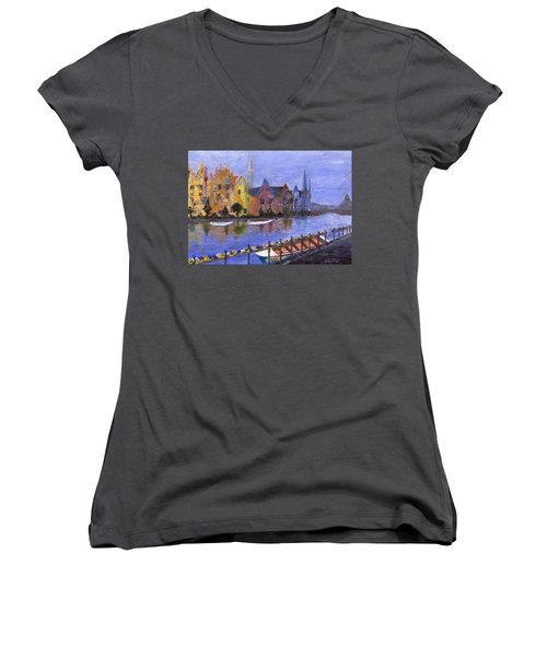 Women's V-Neck T-Shirt featuring the painting Ghent by Jamie Frier