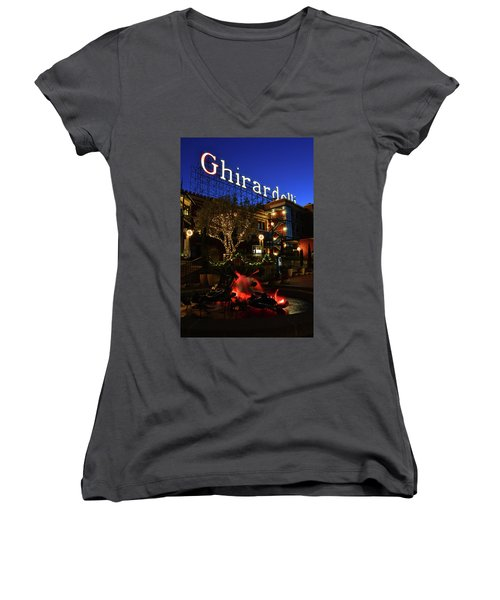 Ghirardelli Square Women's V-Neck T-Shirt (Junior Cut) by James Kirkikis