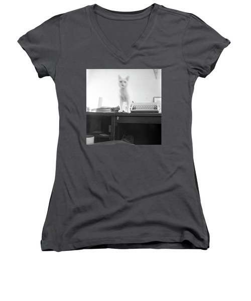 Ghost Cat, With Typewriter Women's V-Neck