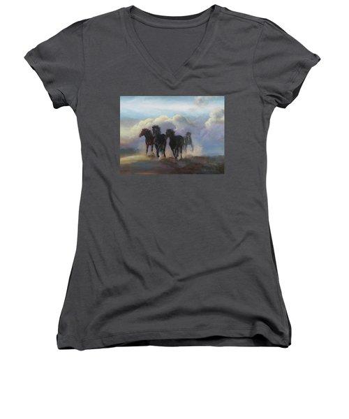 Ghost Horses Women's V-Neck T-Shirt (Junior Cut) by Karen Kennedy Chatham
