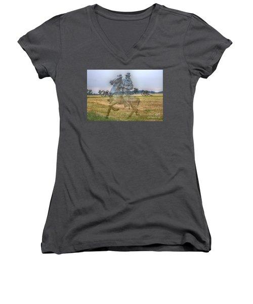 Ghost Of Gettysburg Women's V-Neck T-Shirt (Junior Cut) by Randy Steele