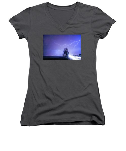 Women's V-Neck T-Shirt (Junior Cut) featuring the photograph Ghost Rider by James BO Insogna